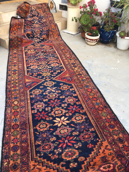 "4'1"" x 14'9"" Antique Northwest Carpet / Vintage Runner / 4x15 rug"