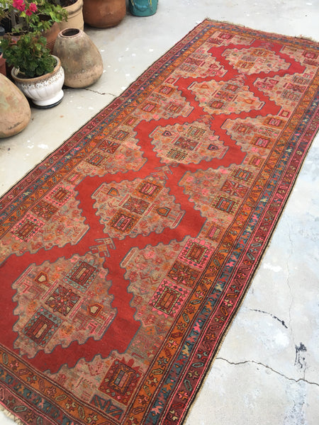 4 x 10 Antique Karabagh Runner / Antique Russian Rug