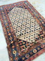 "4'7"" X 6'7 Antique Malayer / Small Vintage Rug / Antique Rug / Senneh Weave"
