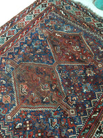 "5'1"" x 6'1"" Antique Shiraz Tribal Rug / 5x6 Antique Rug / Vintage Square Rug"