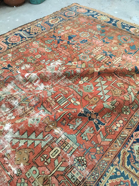 "8'10"" x 12'8"" Worn antique Heriz / Large vintage Oriental rug / Worrn to perfection Heriz"
