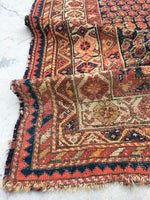 "3'9"" x 5'9"" Antique Hamadan Rug / Small Antique Rug"