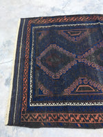 4' x 6'2 Antique Baluch Rug / blue Baluch rug / 1880s village rug
