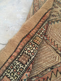 3'5 x 9'5 Camel Hair Serab Runner / Antique Rug Runner