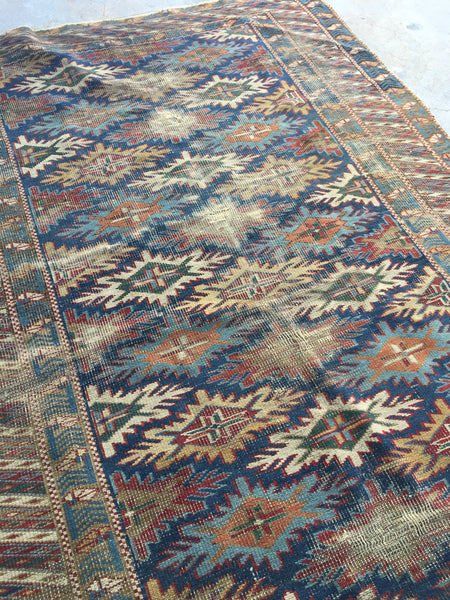 3'7 x5'2 Antique Caucasian Rug