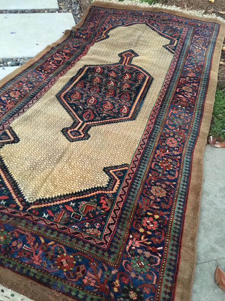 "6'4"" x 11' Antique Camel Hair Serab Rug"