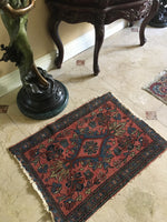 "2' x 2'9"" Antique Love Worn Lilihan Rug - small antique rug"
