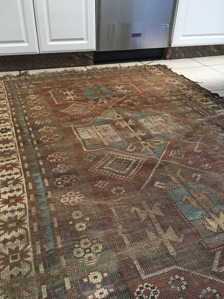 "4' x 6'7"" Worn Tribal Rug (#397)"