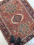 3'8 x 4'6 Antique Persian Heriz Jr (#978)