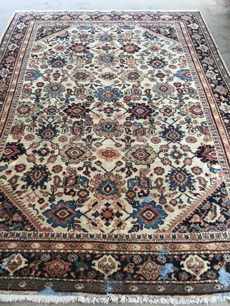 7'5 x 10'1 antique ivory Persian Mahal (#1258) / 8x10 large vintage rug
