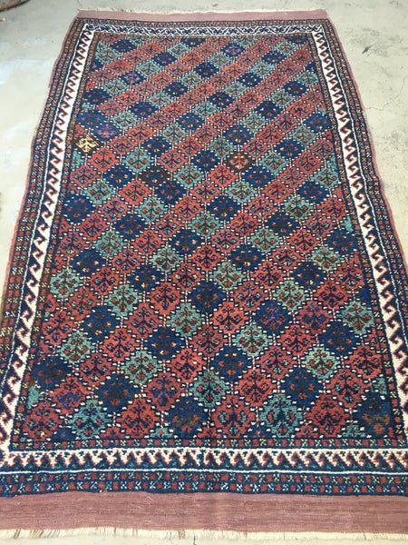 4'6 x 7'9 Antique Persian Khamseh Tribal Rug / 4x7 Vintage Rug (#1277)