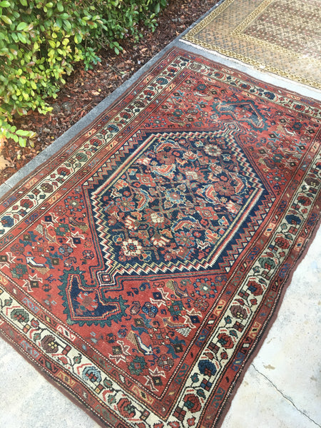 "3'7"" x 5'5"" antique Kurdish rug"