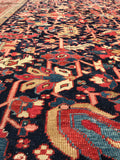 8'7 x 11'9 midnight blue Antique Heriz Rug / 9x12 vintage rug (#1083)