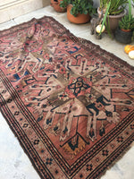 5 x 8 antique Cacausus rug with eagle art (#1294ML)