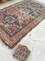 5'1 x 8'1 Antique Soumak flat weave rug