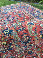 9'8 x 12'8 worn antique Persian Mahal Rug