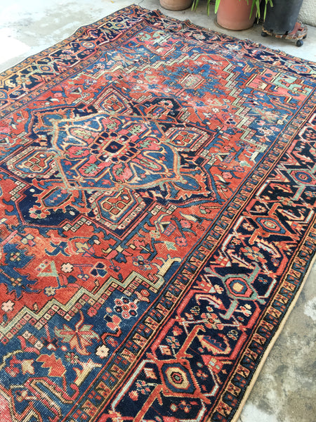 7'5 x 10'10 Antique Persian Heriz / Large vintage rug / 8x11 vintage rug (#1226ML)