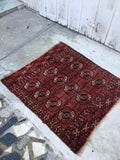 "3'1"" x 3'3"" Antique Tribal Turkmen / Turkoman Rug / Small Antique Rug"