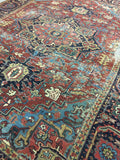 9.5 x 12 Battered n Bruised Beauty - Heriz Rug