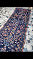 3'6 x 12'8 Indigo Blue Antique Bakhtiari Runner
