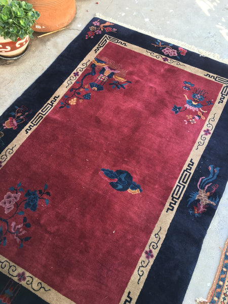 4'1 x 6' antique Chinese Art Deco Rug (#392)