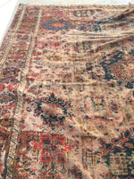 9' x 10'10 worn Antique Soumak Flatweave Rug