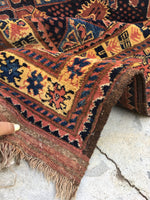 7'3 x 9'6 antique nomadic Afghani Rug (#858)