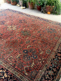 9'3 x 11'2 antique Persian Heriz (#1414) / Large vintage 9x11 rug