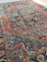 8'10 x 12' antique Persian Heriz with french blue corners (#812)
