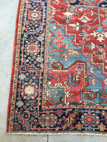 7'7 x 10'8 antique Persian Heriz with french bh bh  blue corners (#1141)