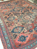 8'9 x 11'5 worn Antique Soumak Flatweave Rug