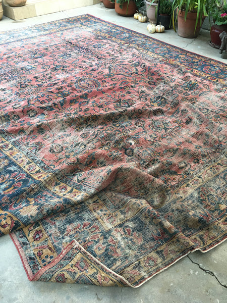 10'4 x 13'2 antique Persian Lilihan in rose pink (#1401)