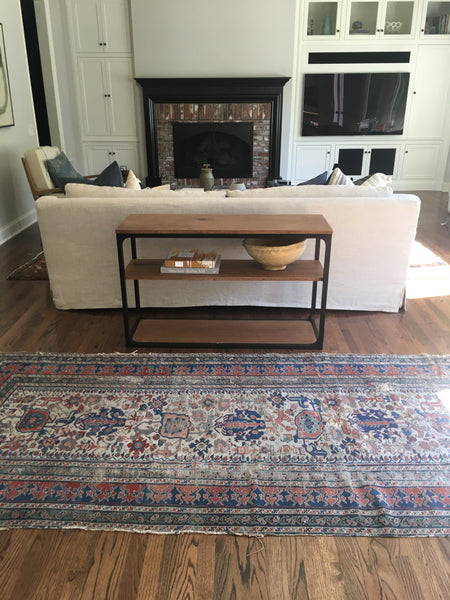 4'3 x 9'8 Worn Antique Caucasian Rug
