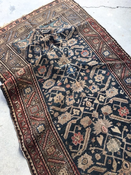 3'6 x 6'2 antique Persian Malayer / Small Vintage  Rug