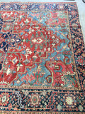 7'7 x 10'8 antique Persian Heriz with french blue corners (#1140)