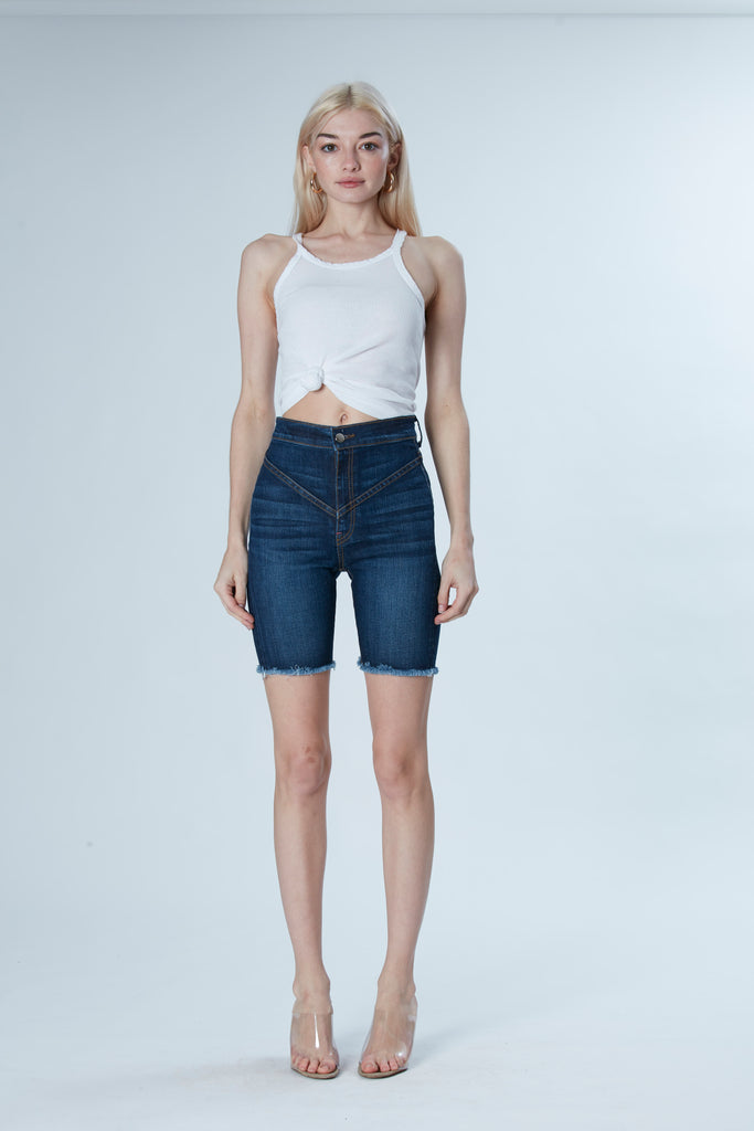 Gigi Denim Biker Shorts