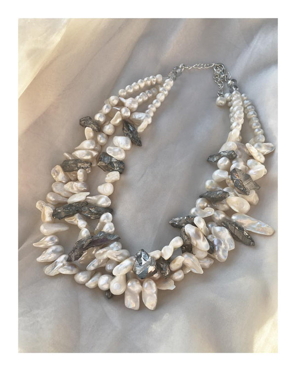 Pearl and Pyrite Necklace