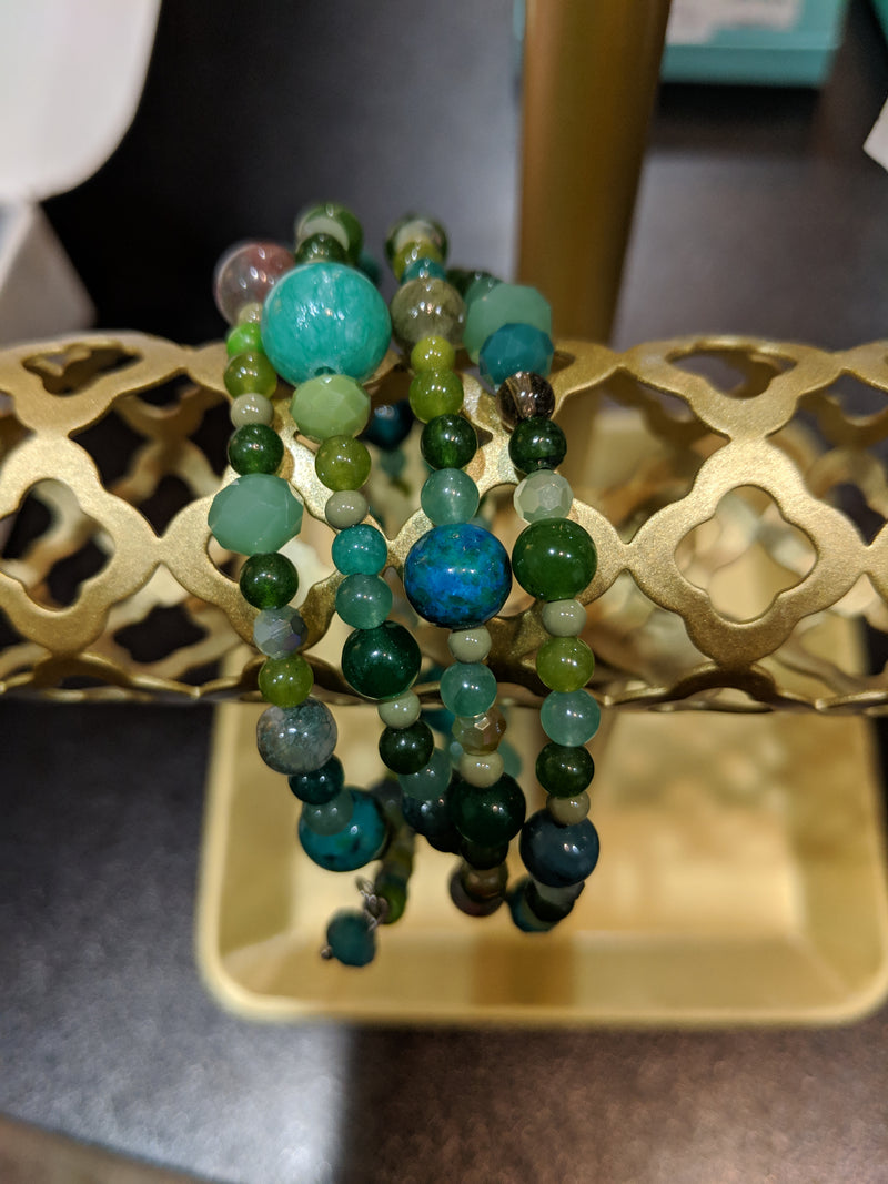 Green beaded wrap bracelet