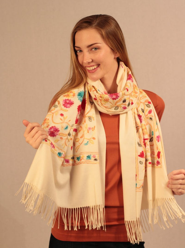 Embroidered Boho Cashmere Scarf