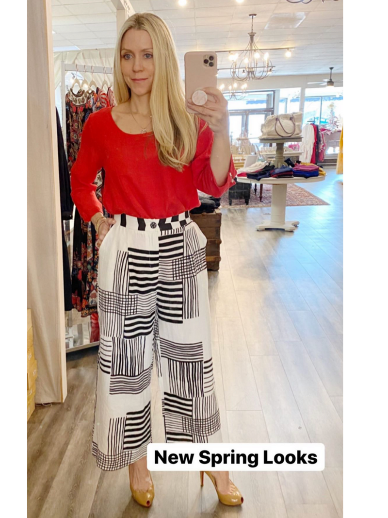 White & Black Stripe Pants