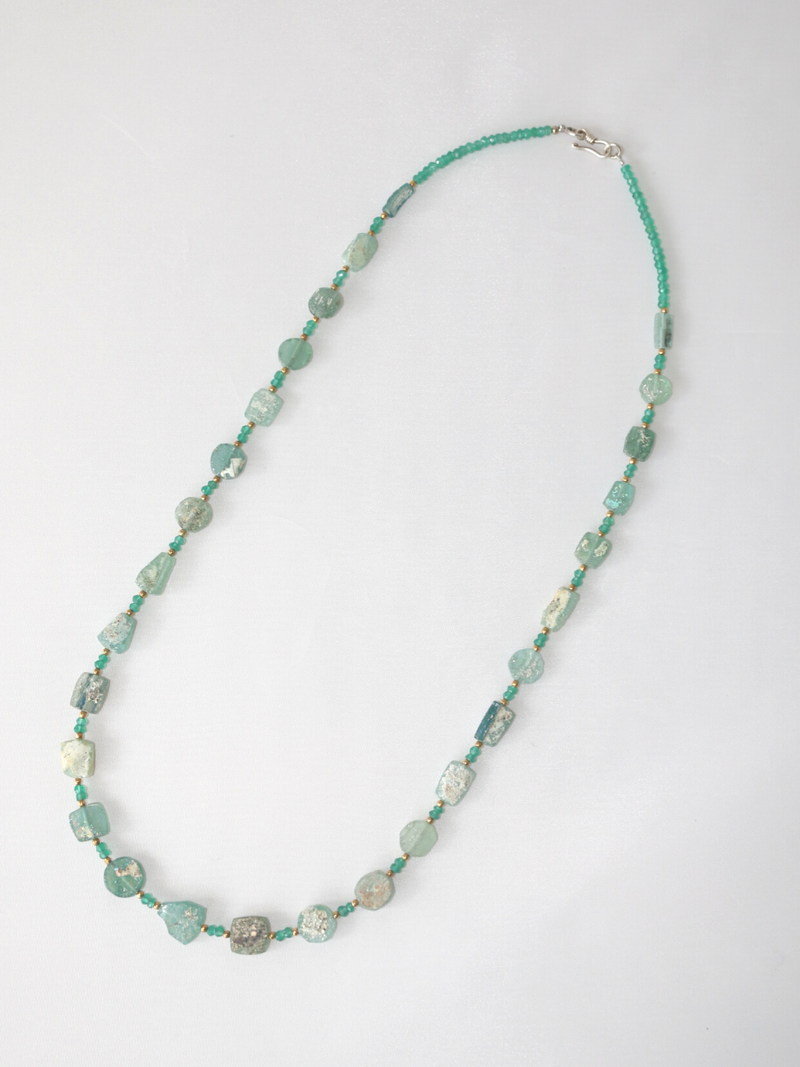 Roman Glass & Peridot Necklace