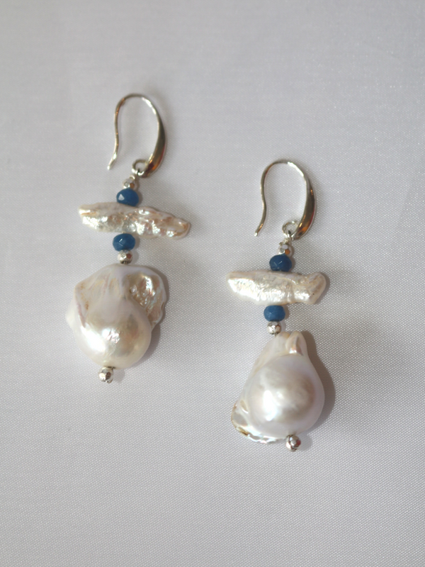 Baroque Pearl Earring with Blue