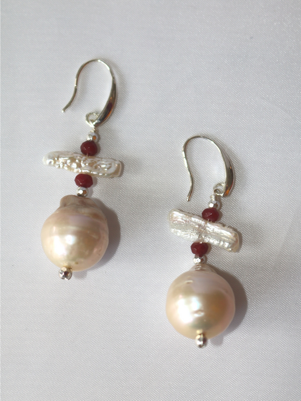 Baroque Pearl Earring in Red