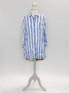 Blue Stripe Martinique Crinkle Top