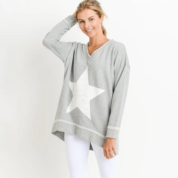 Antiqued Star Longline V Neck