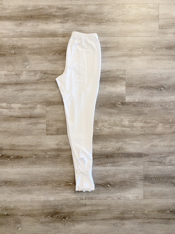 Bow tie leggings white