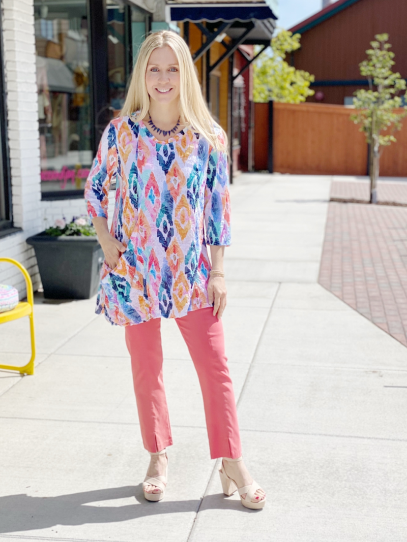 Spring Blooms Crinkle Tunic