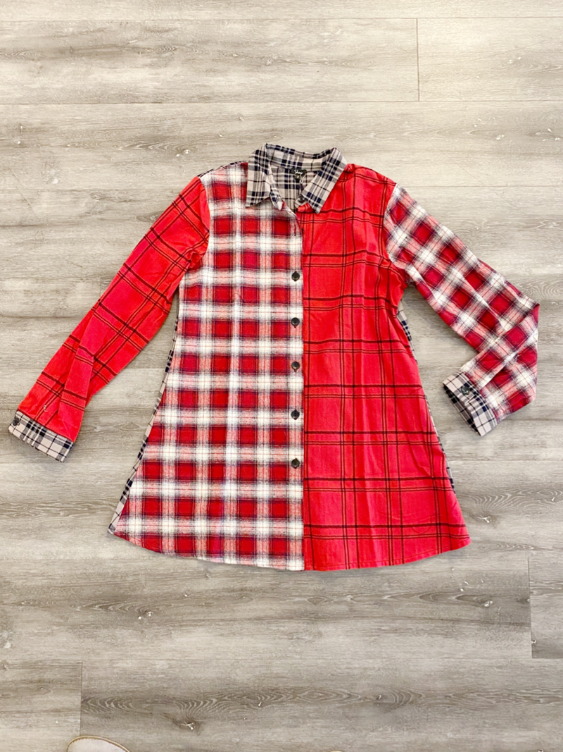Plaid Red Shana Top
