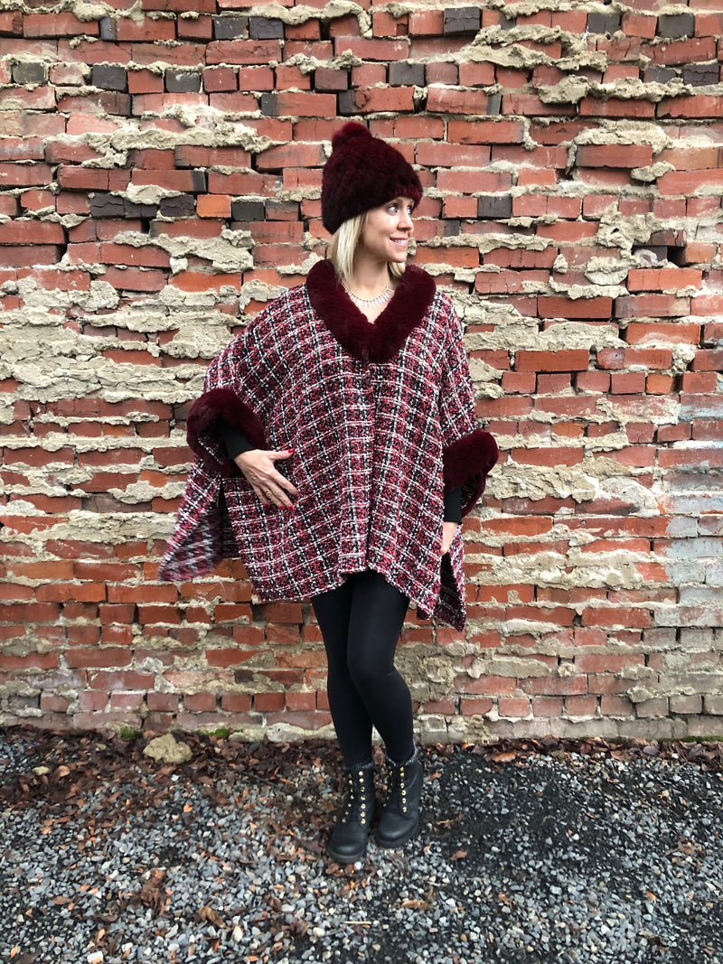 Trimmed Tweed Cape