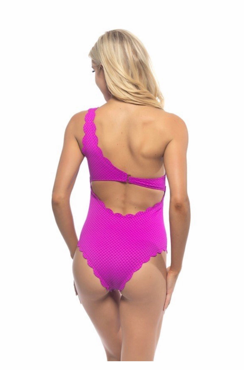 Fuchsia Cross Strap One Piece
